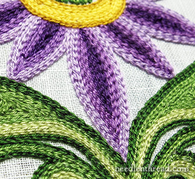 Tambour Embroidery: Flower Practice Piece