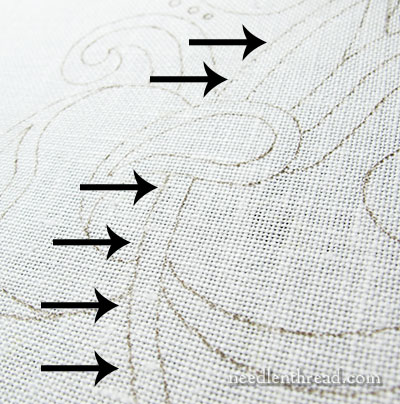 Tambour embroidery with wool threads