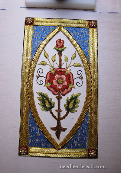 Mission Rose Silk and Goldwork Embroidery