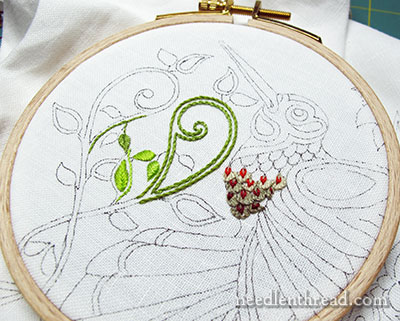 Testing Embroidery Threads for Secret Garden Hummingbirds Project