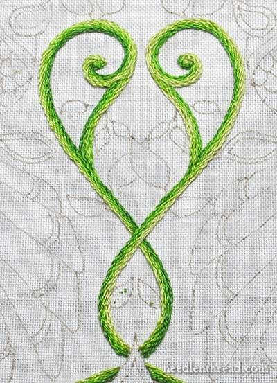 Secret Garden Embroidery Project: Stem Stitch Filling on Vines