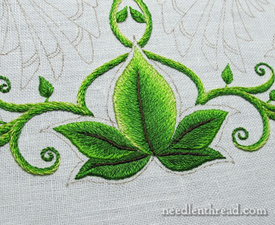 Secret Garden Embroidery: Long & Short Stitch Shading on Leaves