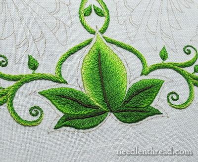 Секретный сад вышивки: длинные и короткие строчки Притенения на листьях
