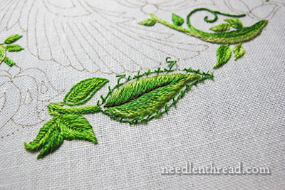 Secret Garden Embroidery Project - Leaves