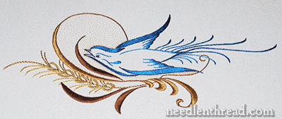Silk Embroidery Inspired by Ornamental Penmanship