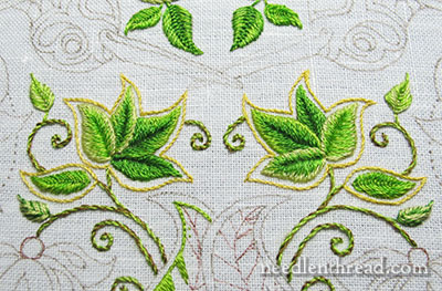 Secret Garden Embroidery Project: Leaf Clusters