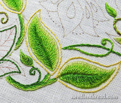 Long & Short Stitch Shading on Embroidered Leaves