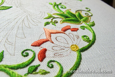 Long & Short Stitch Leaves on Secret Garden Project