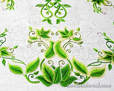 Secret Garden Hand Embroidery Project - Long & Short Stitch Shading on Leaves