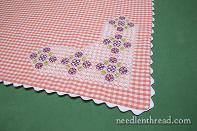 Gingham Embroidery Table Centerpiece