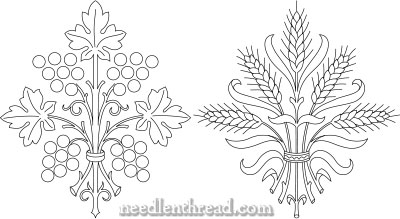 Grapes and Wheat Embroidery Patterns