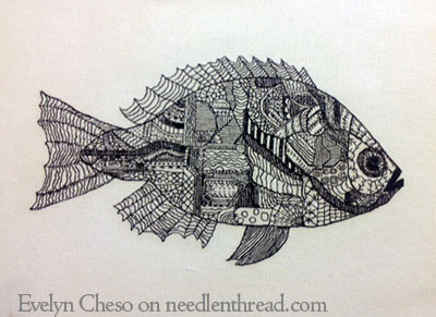 Blackwork Fish by Evelyn Cheso
