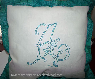 Hand Embroidered Monogram A Cushion
