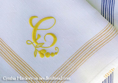 Hand Embroidered Monogram C