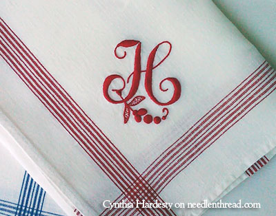 Hand Embroidered Monogram H