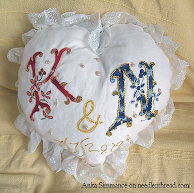 Hand Embroidered Monograms K & N