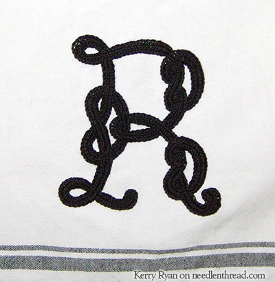 Hand Embroidered Monogram R Celtic