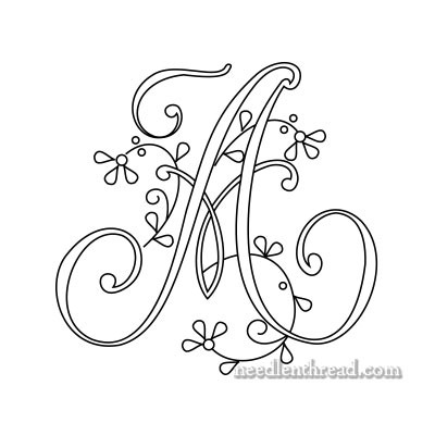 Monogram for Hand Embroidery - A - Floral