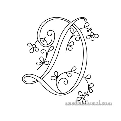 Free Monogram for Hand Embroidery: Letter D