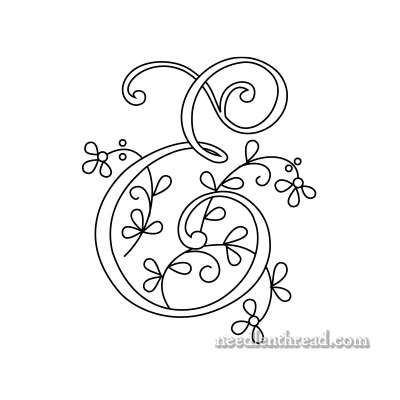 Free Monogram for Hand Embroidery: Letter E