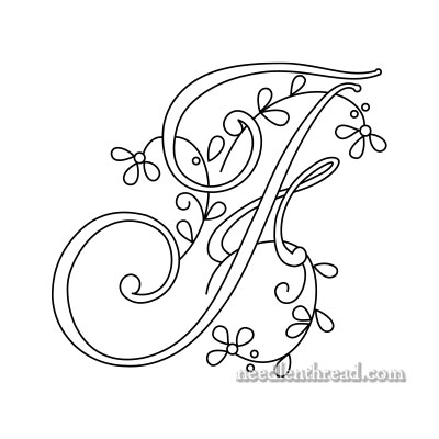 Free Monogram for Hand Embroidery: Letter F