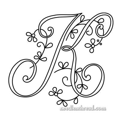 Monogram for Hand Embroidery: K