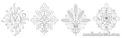 Free Hand Embroidery Patterns: Lily, Grapes, Wheat, Rose