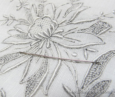 Whitework Embroidery on Antique Embroidered Handkerchief