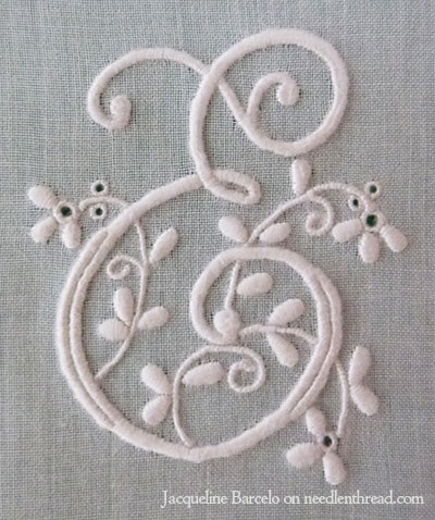 Embroidered E Monogram Using Traditional Monogramming