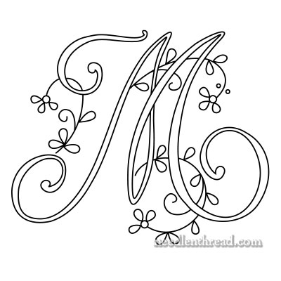 Monogram M for Hand Embroidery on Needle 'n Thread