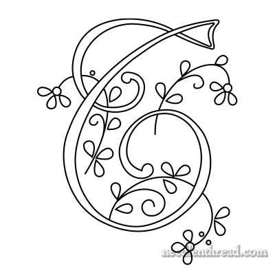 Monogram for Hand Embroidery: T