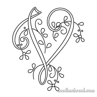 Monogram for Hand Embroidery: V