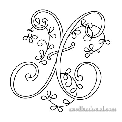Monogram for Hand Embroidery: X