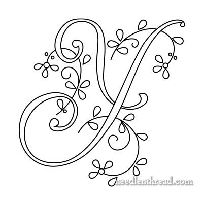 Monogram for Hand Embroidery: Y