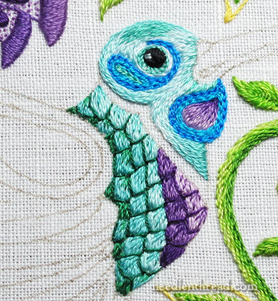 Embroidered Scales on a Hummingbird NeedlenThreadcom