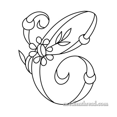 Free Monogram for Hand Embroidery: C