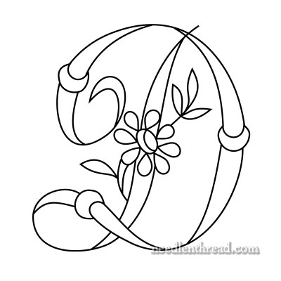 Free Monogram for Hand Embroidery: D