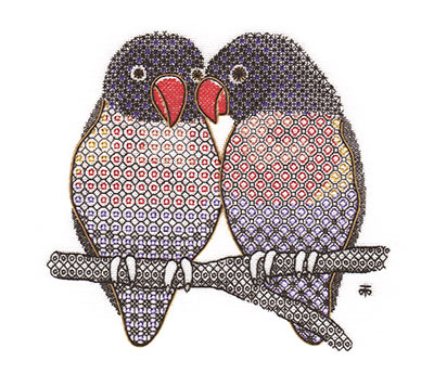 Blackwork Lovebirds by Tanja Berlin