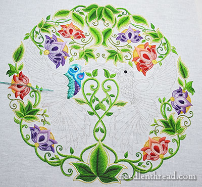 Secret Garden Embroidery Project: Embroidering the Bird
