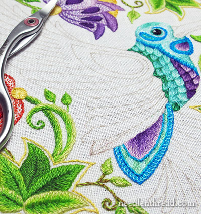 Secret Garden Embroidery Hummingbird Tail
