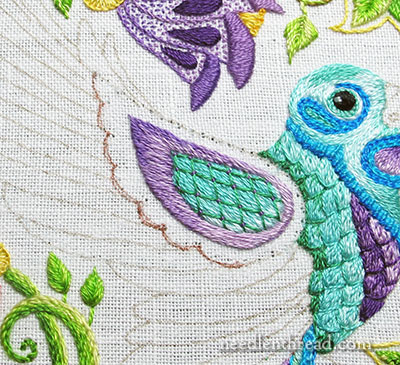 Secret Garden Embroidery: the Hummingbird Wing