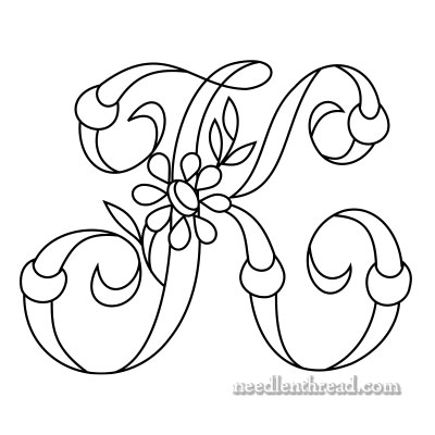 Monogram K for Hand Embroidery