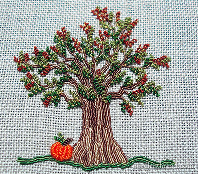 Embroidered Autumn Tree with Pumpkin