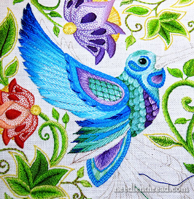 Secret Garden Embroidery - Hummingbirds - Stitching the Feathers