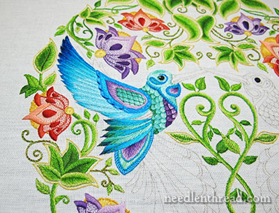 Secret Garden Embroidery - Hummingbird - Embroidered Feathers