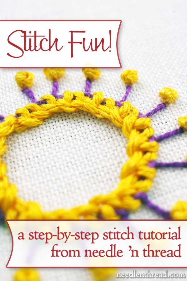 Hand Embroidery Stitch: Buttonhole Wheel Flower