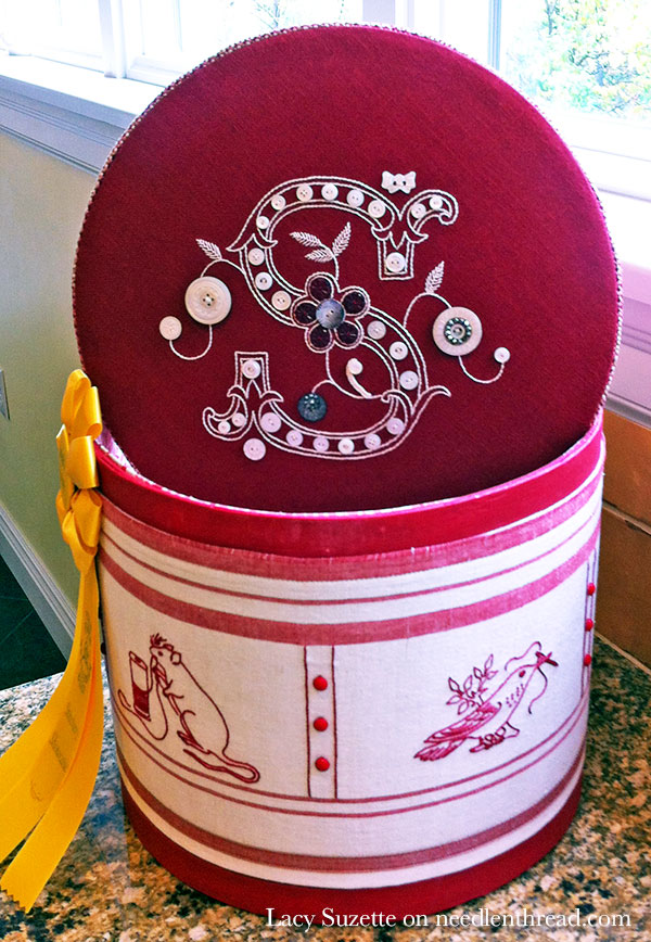 Redwork Embroidery & Monogrammed Lid on a Beautiful Box