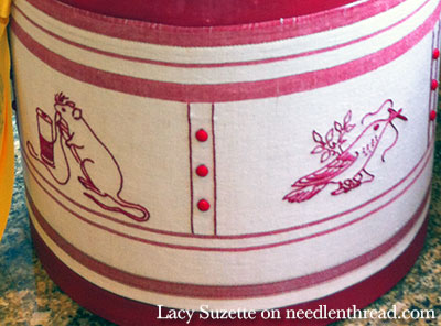 Redwork Embroidery Box & Monogrammed Lid on a Beautiful Box