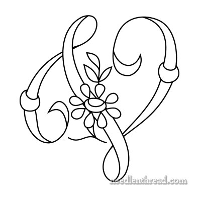 Monogram for Hand Embroidery: U