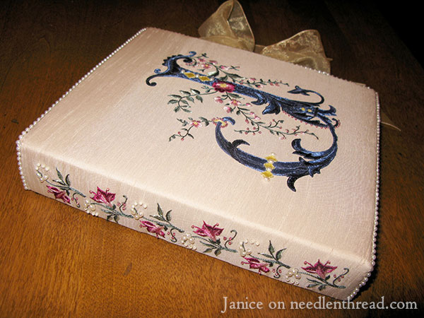 Hand Embroidered Monogram on Photo Album Cover